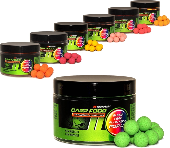 Super Feed Fluo Pop Up boilies 14/18mm 200ml/Kreveta černý pepř