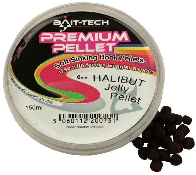 Bait-Tech Pelety v krabičce Premium Jelly Halibut 6mm, 125ml