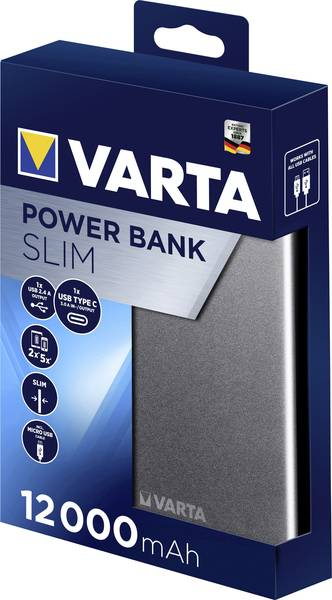 Varta Portable Slim powerbanka Li-Pol 12000 mAh 57966101111