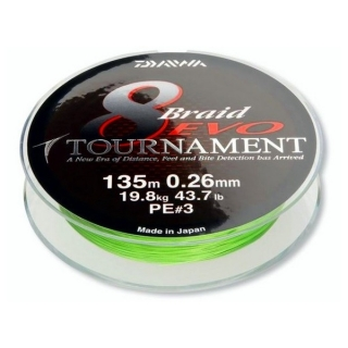 Daiwa Tournament 8 Braid Evo 0.14mm/135m- Chartreuse