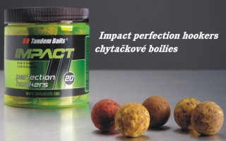 Boilies TANDEM BAITS Impact Perfection Hookers 18mm/250ml - ČERNÝ HALIBUT