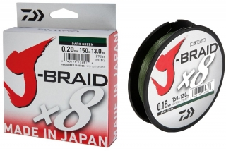 Daiwa J-Braid X8 Tm. 0.16mm/150m zelená